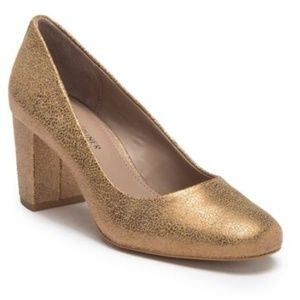 Donald Pliner Gold Paris Metallic Block Heel Pump